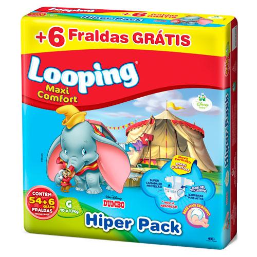 482bc8279 Fralda Looping Maxi Comfort Hiper Pack Tamanho G - com 54 Unidades + 6  Grátis